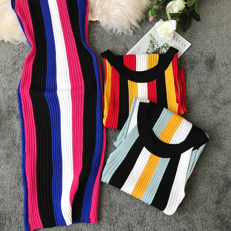 ALPHALMODA Summer 2019 New Round Neck Rainbow Vertical Striped Women Vintage Sexy Knit Dress Sleeveless Pullovers Ladies Vestido 21