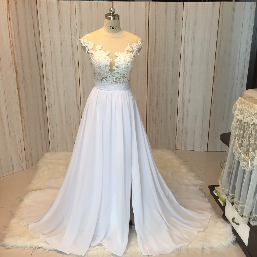 SuperKimJo 2018 Real Foto Chiffon Beach Nunta rochie dantelă Vestido - Rochii de mireasa - Fotografie 5