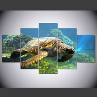5 Pieces Turtles Canvas Painting Pictures For Living Room The Beautiful Sea View Modular Canvas Painting