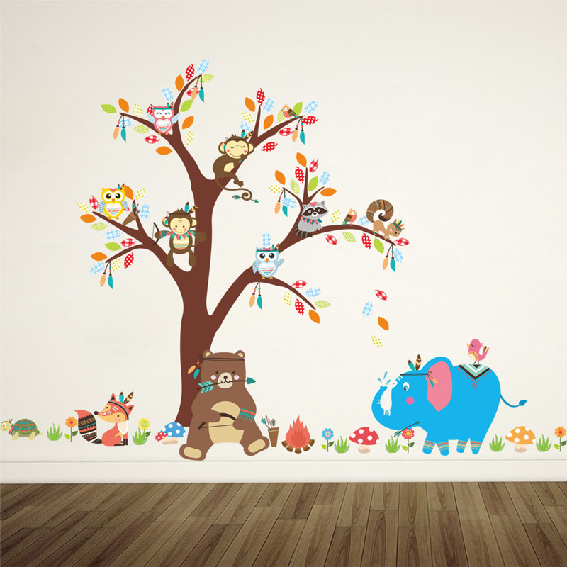 Cartoon Trees Curtains For Kids Boys Bedroom Blinds Linen: Cartoon Forest Animals Owl Monkey Bear Elephant Tree Wall