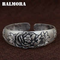 BALMORA 990 Pure Silver Flower Open Bangles For Women Mother Gift Vintage Thai Silver Jewelry About