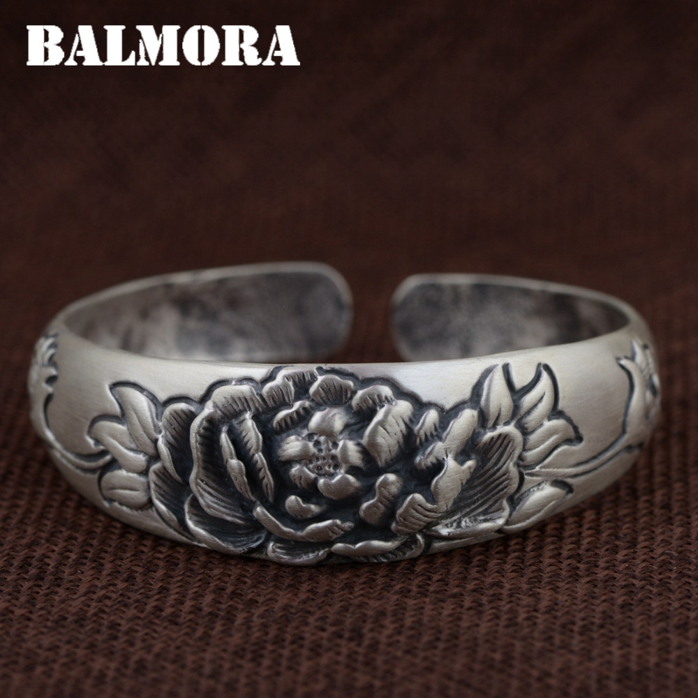 BALMORA 990 Pure Silver Flower Open Bangles for Women Mother Gift Vintage Thai Silver Jewelry About 18cm Bracelet Pulsera SZ0450BALMORA 990 Pure Silver Flower Open Bangles for Women Mother Gift Vintage Thai Silver Jewelry About 18cm Bracelet Pulsera SZ0450