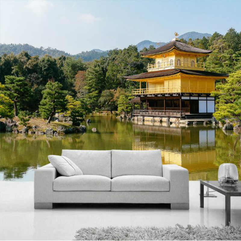 Japan Kyoto Golden Pavilion Temple scenery 3D Wallpaper for Walls 3d Wall Paper Painting Mural Wallpapers Home Improvement damask wallpaper for walls 3d wall paper mural wallpapers silk for living room bedroom home improvement decorative