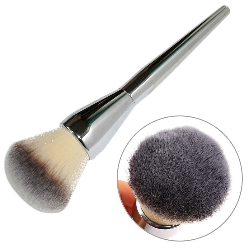 Stor Skönhet Pulverborste Blush Foundation Round Make Up Tool Stor Kosmetika Aluminiumborstar Soft Face Makeup Tool