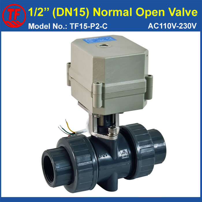 TF15-P2-C, DN15 UPVC Normal Open Valve 2 Wires AC/DC9-24V BSP or NPT 1/2'' 10NM Actuator Operated Valve On/Off 15 Sec Metal Gear
