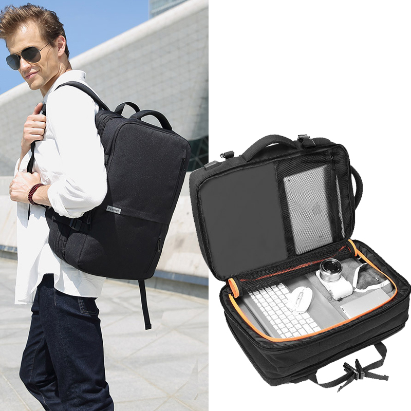 Man Backpacks Fit 15 inch Laptop USB Recharging Multifunction Men Multi layer Space Travel Backpack Business