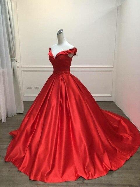 2021 Elegant Simple Red Prom Dresses V Neck Ball Gowns Cap Sleeve Satin vestidos de formatura Backless Reflective Dress 2