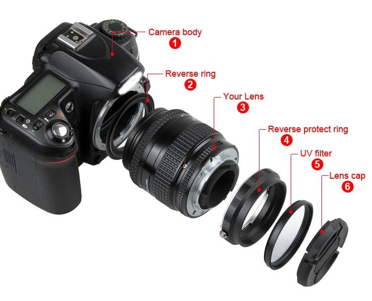 Մակրո ոսպնյակների հակադարձ ադապտերների պաշտպանության հավաքածու ՝ Nikon D80 D90 D3300 D3400 D5200 D5300 D5500 D7000 D7100 վերատեղակայված 52 մմ ուլտրամանուշակագույն ֆիլտրի համար