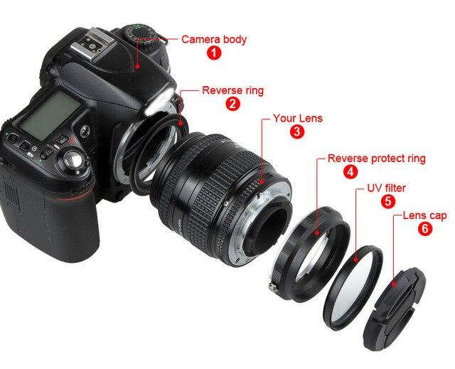 Макрообъектив Обратный адаптер защиты набор для Nikon D80 D90 D3300 D3400 D5200 D5300 D5500 D7000 D7100 переустановить 52 мм УФ-фильтр