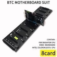 620*170 мм 8 карт BTC компьютер материнская плата для взаимного HM65 ATX DDR3 Профессиональный плата 8 PCI E слотов добыча материнская плата