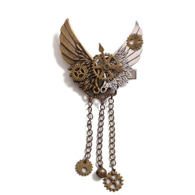 Стимпанк брошка с крыльями и шестеренками 5