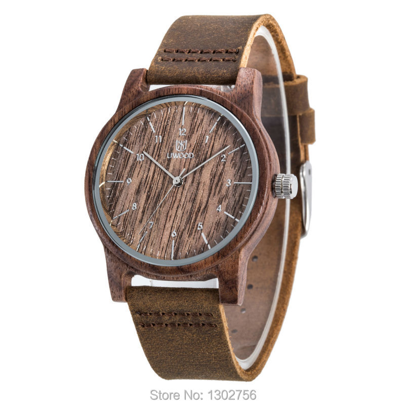 2017 Fashion Walnut Wood 100% Genuine Leather Analog Watch Original MIYOTA Quartz Movement Wooden Watch For Men Women Gift