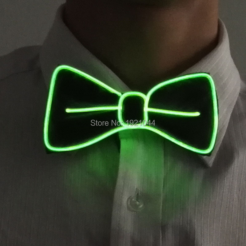 2017 New Design Style 10 Color Choice Flashing Light Up LED Neon Bow Tie Lemon Green glow EL wire BowTie For Evening Party Decor