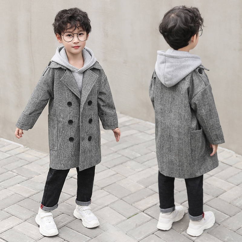 Children's wear jacket 2018 boys autumn and winter fashion children's jacket double-breasted long gray plaid retro boy coat children s wear 2018 autumn and winter new plaid fashion woolen coat children s long wool double breasted jacket boy windbreaker