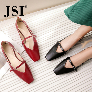 JSI Fashion Genuine Leather Women Flats Casual Buckle Strap Square Toe Shoes Basic Outside Shallow Low Heel Ladies Flats JO221