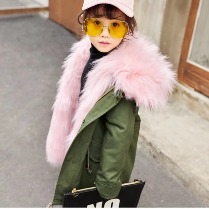 Winter coat for girls from artificial fox Seta Rabbit Fur animals liner Jackets for kids Children's outerwear 2017 winter new clothes to overcome the coat of women in the long reed rabbit hair fur fur coat fox raccoon fur collar