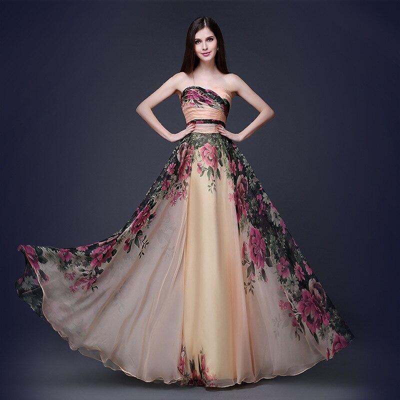 2016 Wanita Seksi Sifon Dicetak Strapless Halter Maxi Dress Pesta