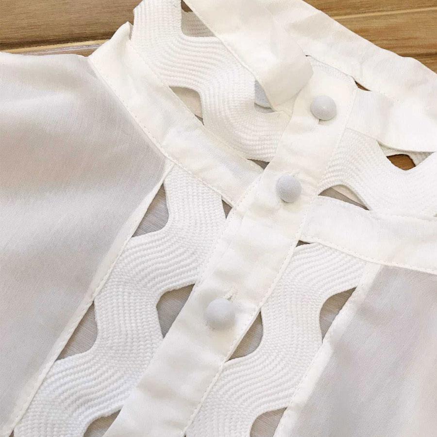 Chemise Printemps Roosarosee 1 Blanc Haute Femmes Montant De Élégante Designer Nouveau 2 Manches Longues Blouse Qualité Évider Rouge Col Tops wAfqURvEWw