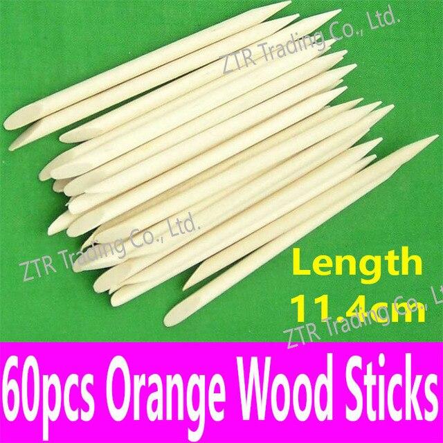 60pcs Nail Art Tools Orange Wood Sticks Wood Cuticle Pusher Cuticle Remover Dotting Tools Manicure Pedicure Equipment Wholesale