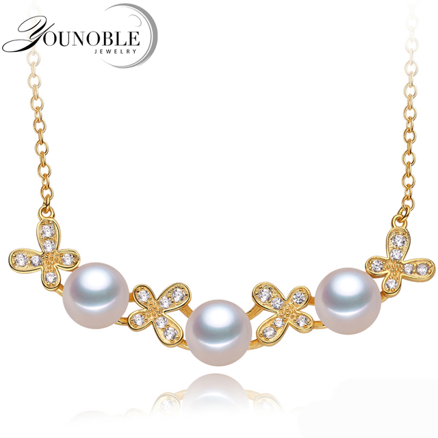 Freshwater Pearl Pendant Necklace 925 Silver Women,Fashion Natural Pearl Pendants Gold Jewelry Daughter Birthday Gift White 45cm