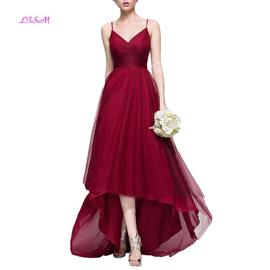 Sexy Spaghetti Strap Burgundy   Bridesmaid     Dresses   2019 A-Line Empire Ruffled Hi-Lo Prom   Dress   Long Formal   Dress   for Wedding Party