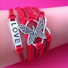 Red Love Butterfly Fashion wrap link bracelet For Women Dress Infinity Multilayer wrap link bracelets & Bangles