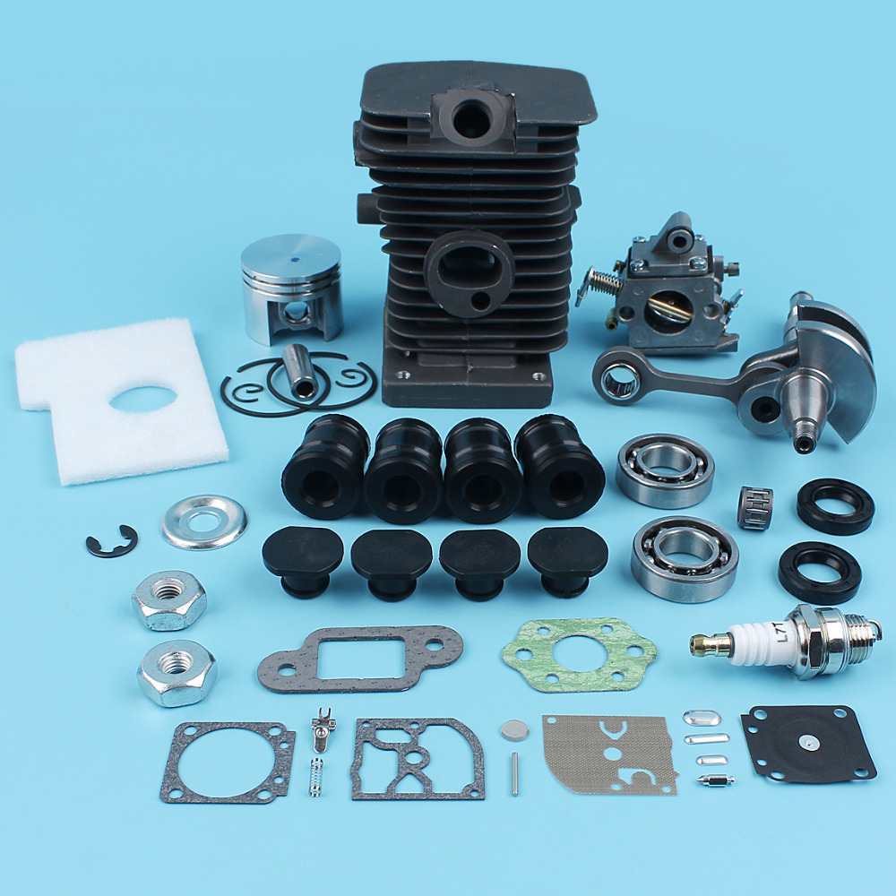 38mm Cylinder Piston 10mm Pin Crankshaft Carburetor Kit For STIHL 017 018 MS170 MS180 Chainsaw AV Buffer Ball Bearings Gaskets 38mm cylinder athena 50cc puch50 38mm cylinder with piston and gaskets dia puch 50 50cc high compression performance cylinder