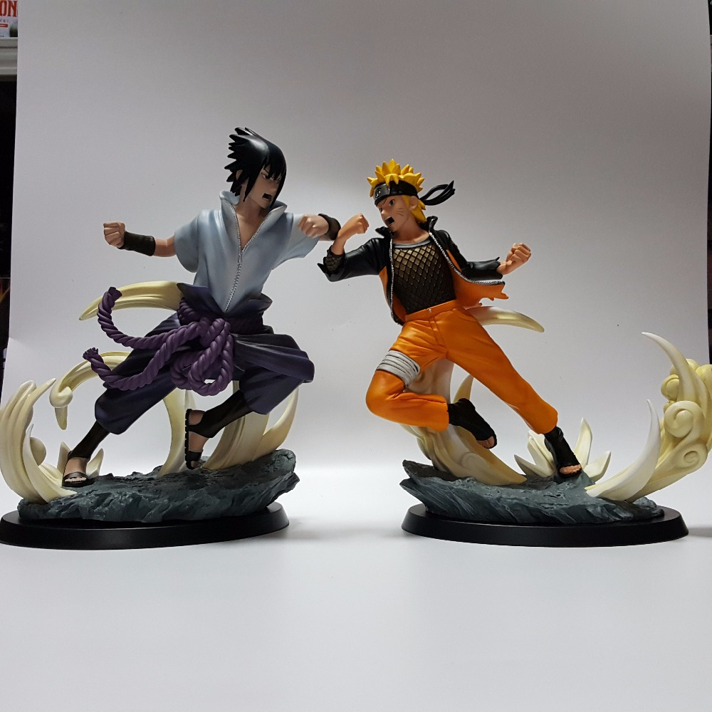 Naruto Action Figures Uchiha Sasuke Uzumaki Naruto PVC 260mm Collectible Model Toy Anime Naruto Shippuden new naruto shippuden orochimaru pvc action figure collectible model toy 13cm doll brinquedos juguetes hot sale freeshipping