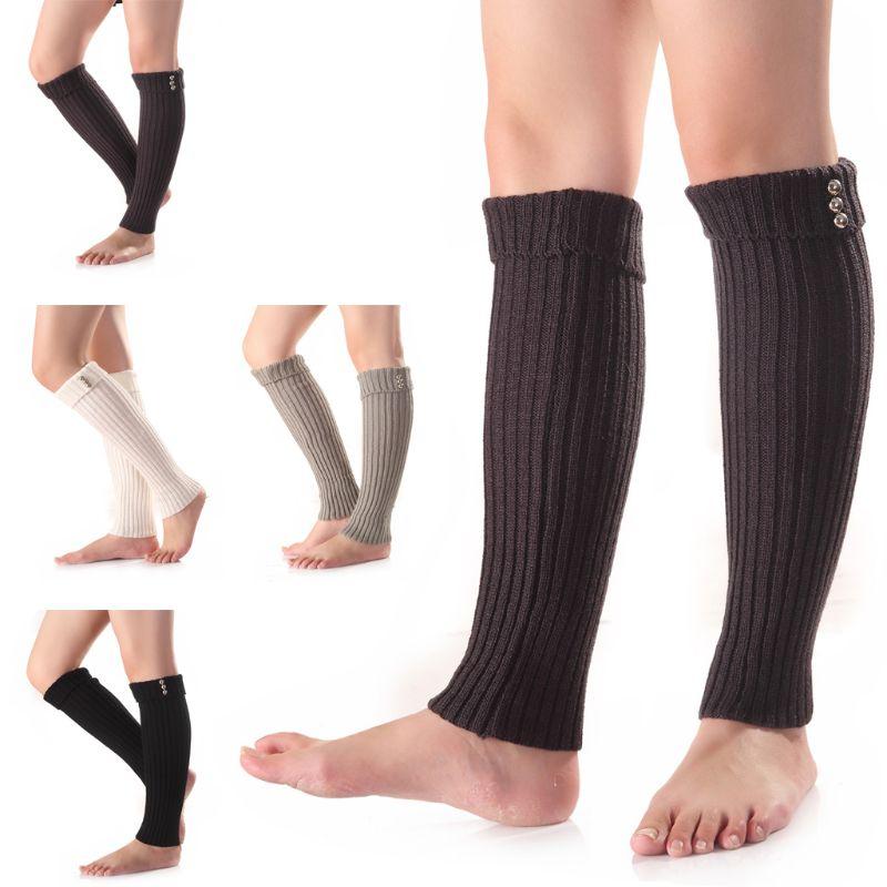 Fashion Women Buttons Crochet Knitted Leg Warmers Autumn Winter Long Hollow Boot Cuff Calentadores Piernas Knitting Boot Socks