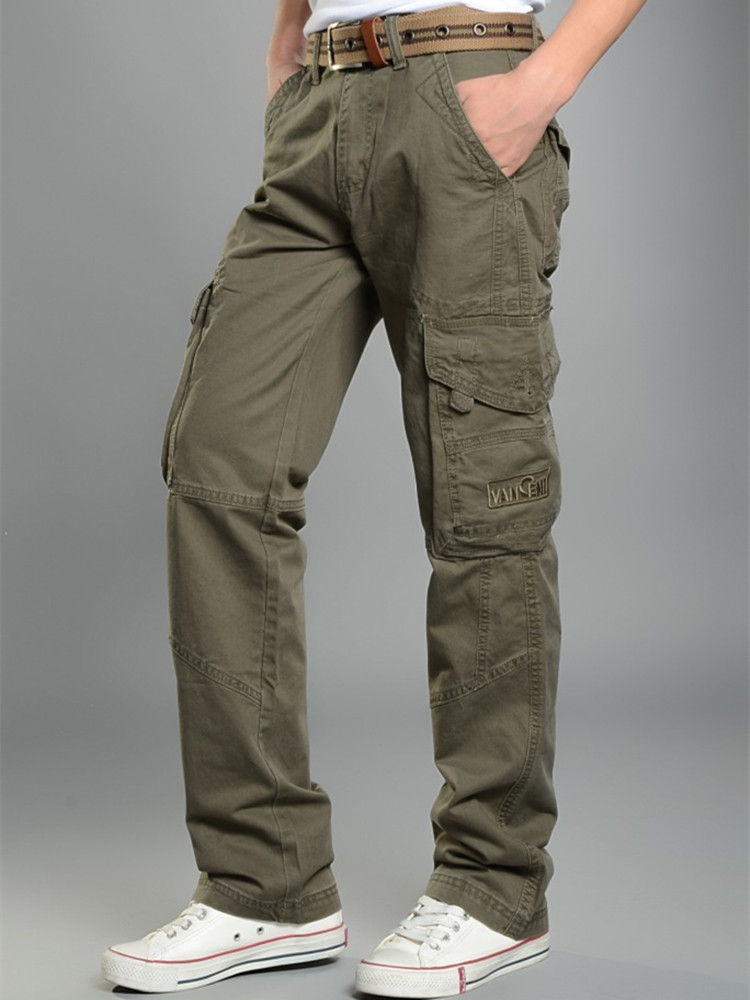 Classic Mens Cargo Pants Straight Slacks Casual Mens Pants Baggy Cotton Trousers Male Military Tactical Pants With Multi Pockets