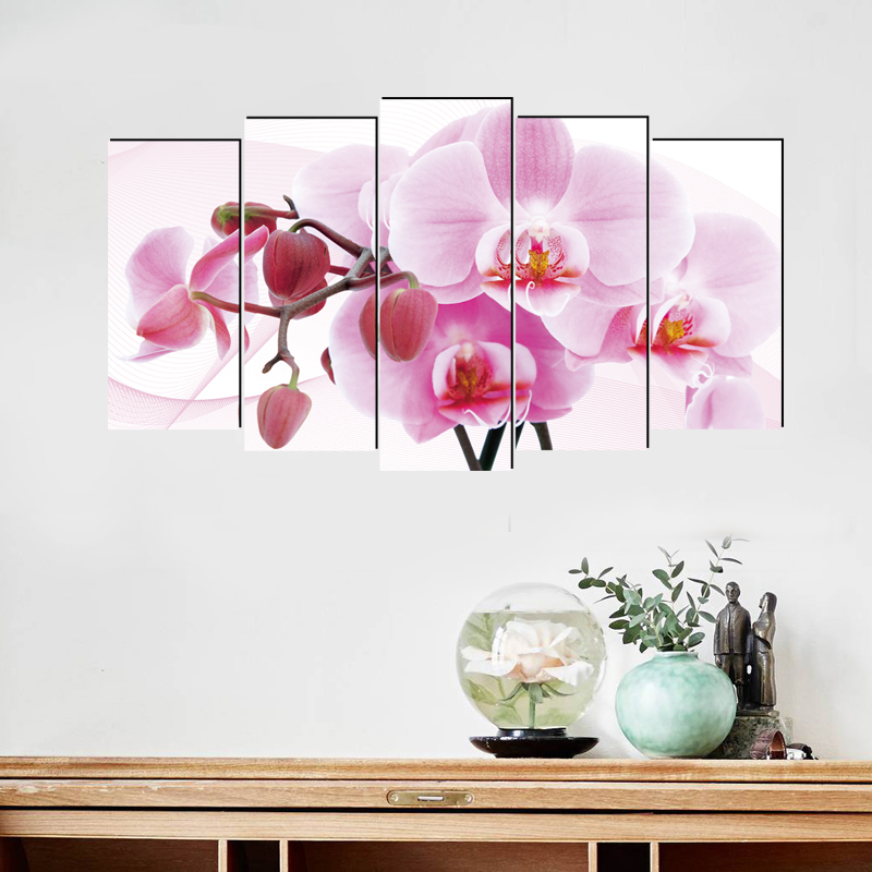Phalaenopsis pastoral canvas painting realist art prints 5 psc art deco wall pictures for lobby pathway bedroom office kitchen in Painting Calligraphy from Home Garden