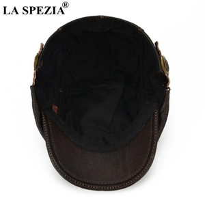 Image 5 - LA SPEZIA Autumn Winter Flat Caps For Men Brown Adjustable Duckbill Hats Male Real Cowhide Leather Classic High End Driving Caps