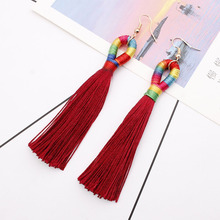 New Colorful Long Tassel Drop Earrings for Women Boho Ethnic Fringed Charm Earring Girls Party Statement Earings Fashion Jewelry цена