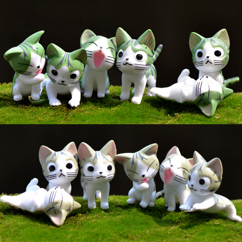 6 pcs/set cute 4cm Cheese cat miniature figurines toys lovely Model Kids Toys PVC japanese anime children figure world image