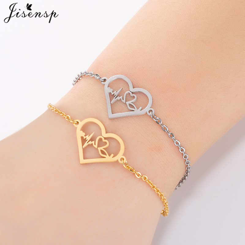Jisensp Stainless Steel Heartbeat Bracelet Women Cardiogram Stethoscope Charm Bracelets Special Gifts for Doctor Nurse Jewelry