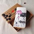 Características del viento nacional bolsa de pintado a mano nuevo estilo Chino pintura escénica de loto de las mujeres Del Embrague monedero al por mayor N004