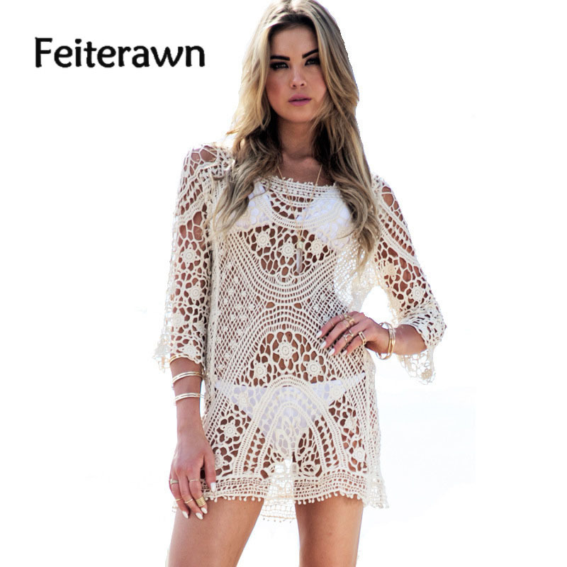 Feiterawn 2018 Women Summer Crochet Tassel Beach Dress Cover Up White Hollow Out Knitted Swimsuit Bikinis Cover Ups DY0951