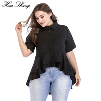 2018 Womens Tops And Blouses 4xl 5xl 6xl Plus Size Women Summer Short Sleeve Ruffles Irregular Women Shirts Black Ladies Tops