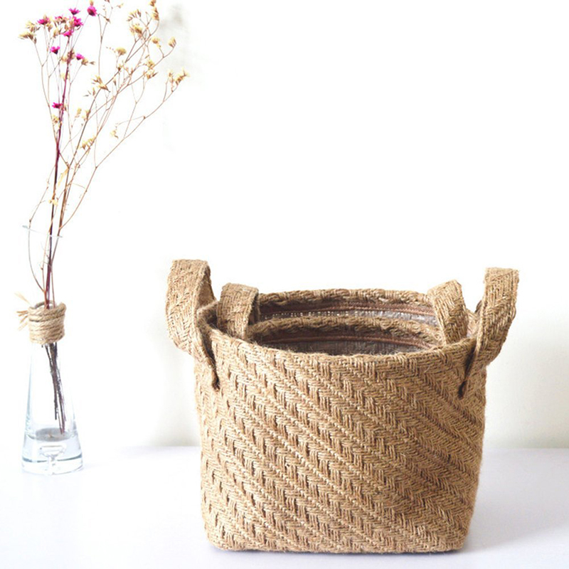Braided Jute Cloth Flowerpot Storage Basket Cotton Linen Blended Desktop Storage Box Kids Toys Sundries Organizer Laundry Basket