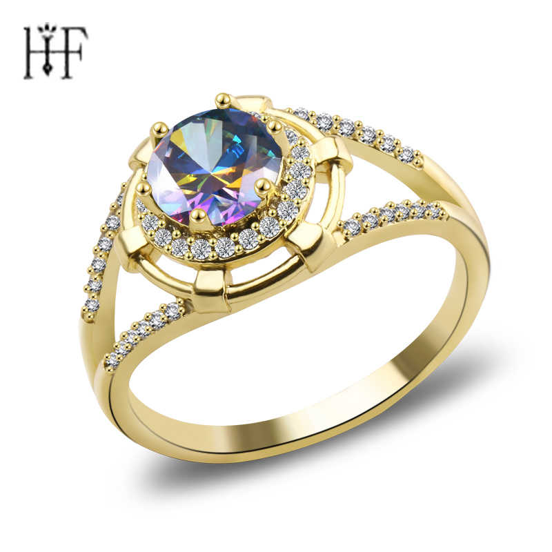 Charm Jewelry Fashion Men Women Colorful Zircon Ring Vintage Gold Filled Jewelry Wedding Gifts For Best Friend