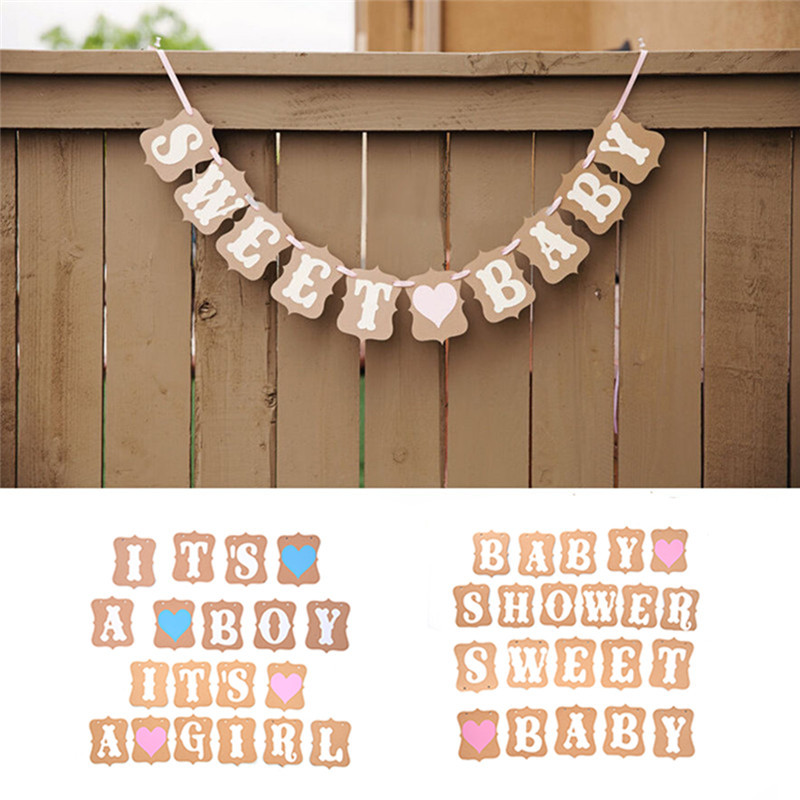 1pcs 3m kraft Paper Photo Props Girl Boy Baby Shower Banner Its A Boy Girl Bunting Garland Party Hanging Aweet baby Decoration