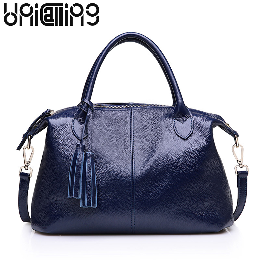 European and American Style genuine leather handbags woman Simple leisure solid color tassel big crossbody bags for women simple embossed coin alloy tassel solid color anklet for women
