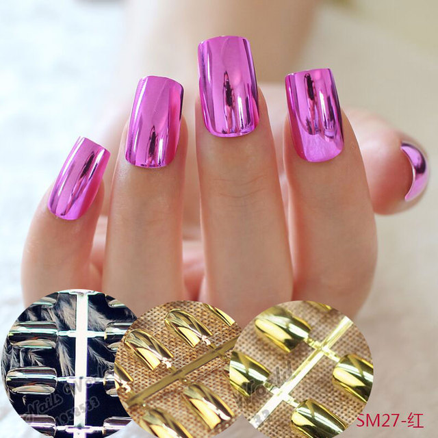 12 optional metallic acrylic nail tips for finger makeup mirror 12 optional metallic acrylic nail tips for finger makeup mirror surface fake false nail design decoration prinsesfo Gallery