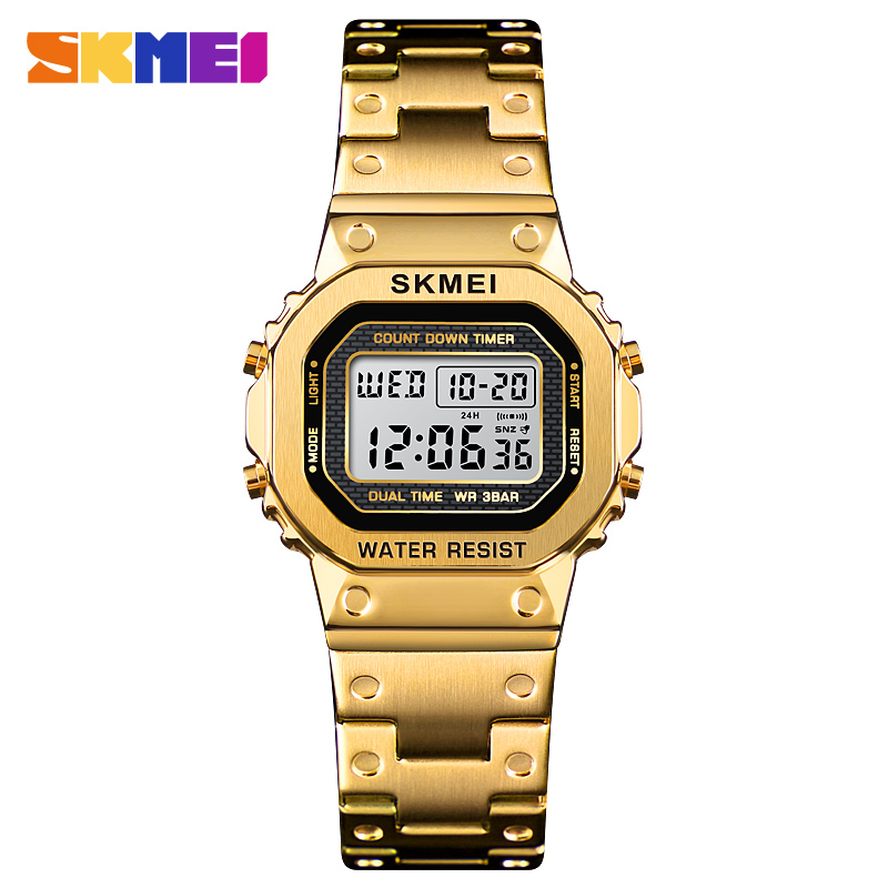<font><b>SKMEI</b></font> <font><b>1433</b></font> Sport Watch Ladies Digital Led Alarm Clock Luxury Stainless Steel Waterproof Chronograph Women Wristwatch reloj mujer image