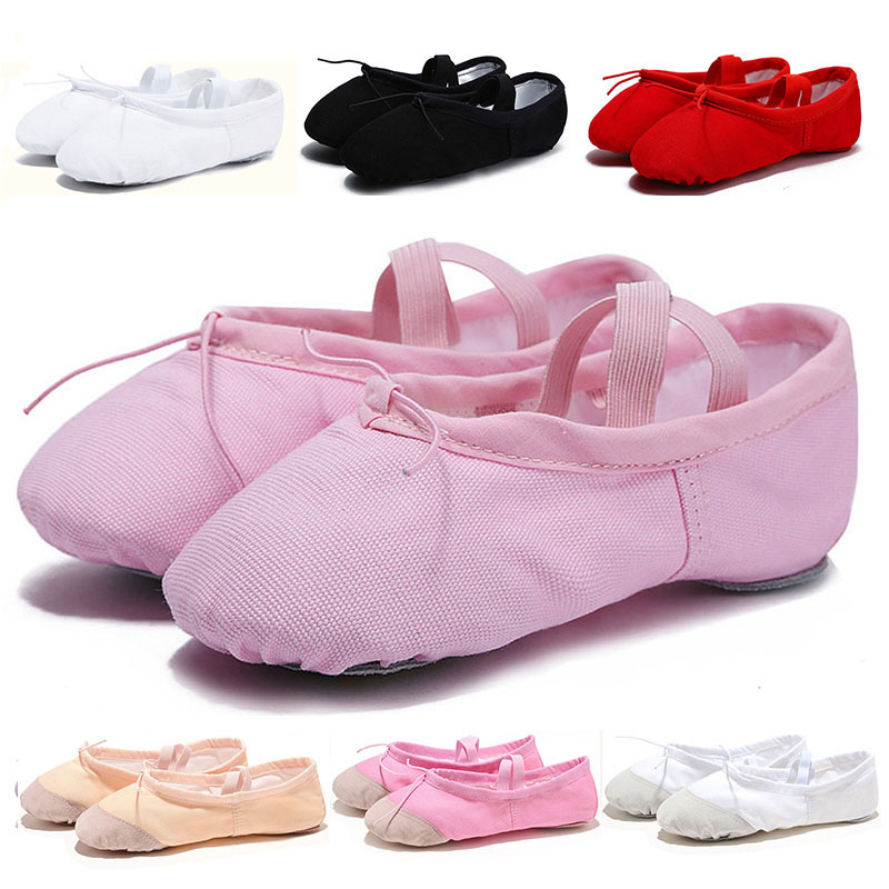 USHINE Cloth/Leather Head Red Black Pink White Yoga Slippers Gym Teacher Yoga Flat Canvas Ballet Dance Shoes Kids Children Woman