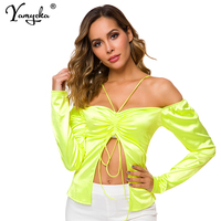 5d92880e4efb Sexy Satin Club Bustier Summer Crop Top Women Festival Yellow Pink Neon  Bandage Off Shoulder Party
