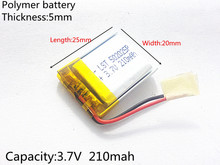 502025 3 7V 210mah Lithium polymer Battery With Protection Board For MP3 MP4 MP5 GPS Digital