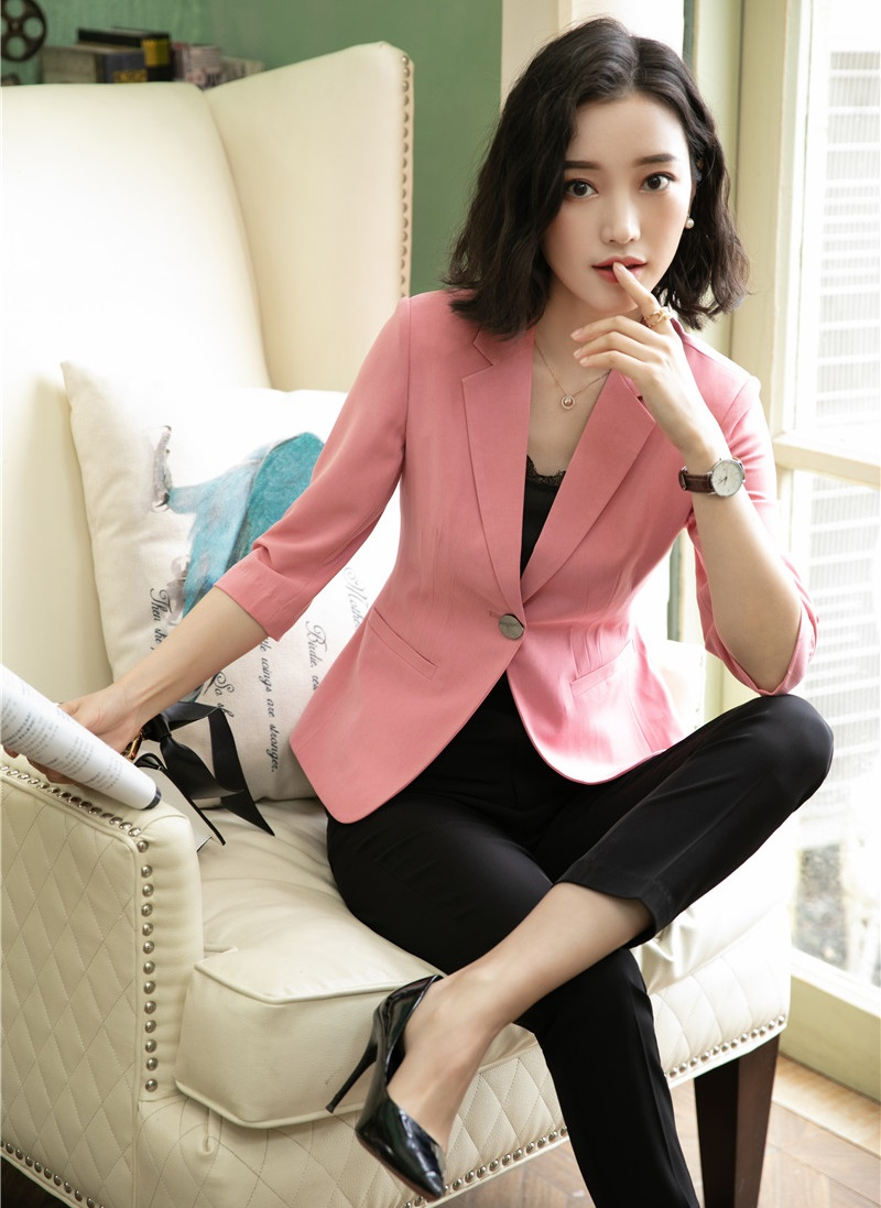 Novelty Pink Formal Business Suit With Jackets And Pants 2019 Spring Summer Women Office Work Wear Blazers Pantsuits Pants Suits
