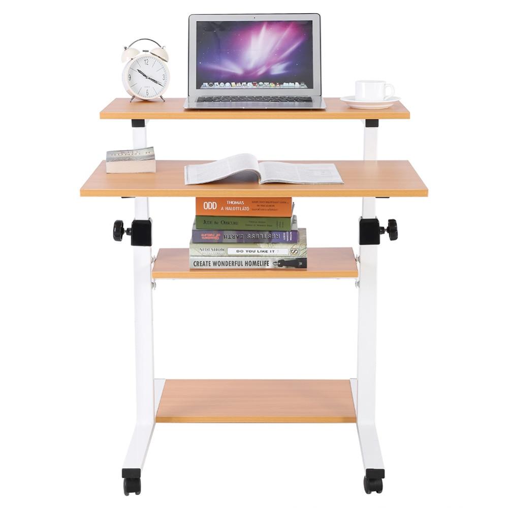 Wooden Adjustable Height Laptop Desk Mobile Standing Computer Work