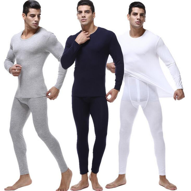 Factory Direct Modal Warm Men's Round Neck Cotton Underwear Long Pajamas Base Suit Plus Size Shirts And Pants 6XL Men Set L198